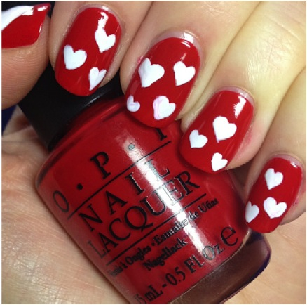 Polka Heart Nail Art