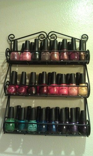 Organizing - Nail Polish in Spice Rack